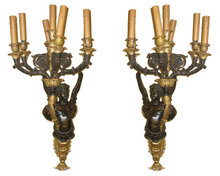 Pair Large Antique Empire Style Figurative Cherub Bronze Candelabra Sconces in Manner of Ravio