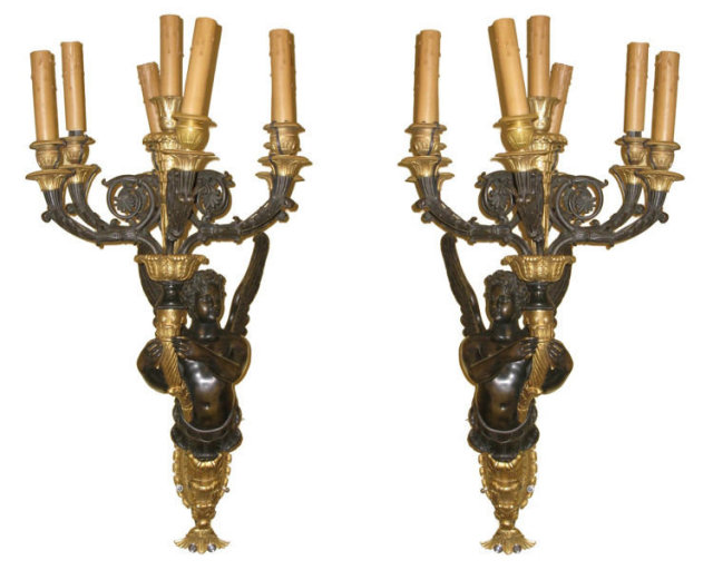 Pair Large Antique Empire Style Figurative Cherub Bronze Candelabra Sconces in Manner of Ravio
