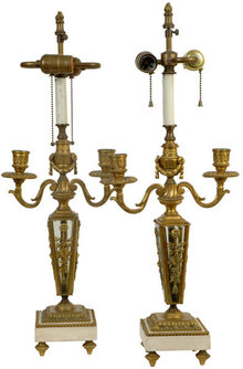 Pair Antique Gilt Bronze Louis XVI Style Table Lamps