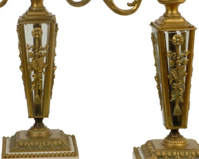 Pair Antique Gilt Bronze Louis XVI Style Table Lamps