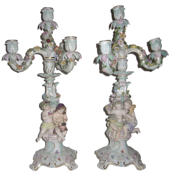 Pair Antique Meissen Figural Candelabra