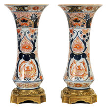 Pair of Japanese Imari Porcelain Bronze Mounted Vases