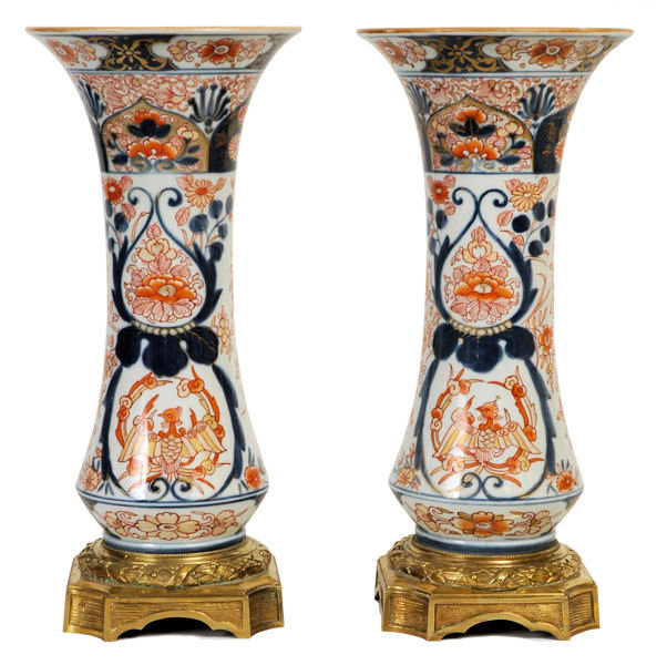 Pair of Japanese Imari Porcelain Bronze Mounted Vases
