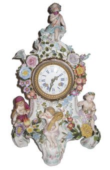 Antique Porcelain Mantle Clock in the Meissen Style
