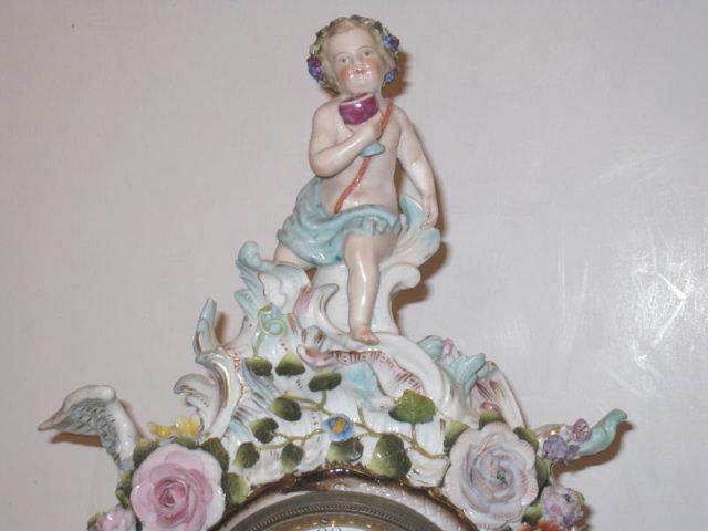 Antique Porcelain Mantle Clock in the Meissen Style