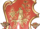 Pair of Vermilion Red Chinoiserie 2-Candle Sconces