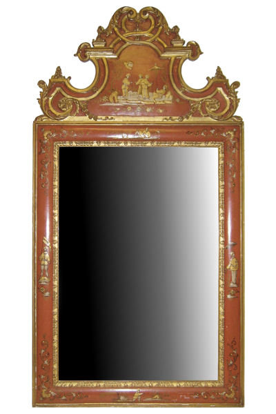 Antique Vermilion Red Chinoiserie Mirror