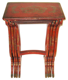 Antique Set of Red Vermilion Japanned Chinoiserie Nesting Tables