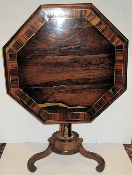 Antique Regency Style Octagonal Rosewood Tilt Top Center Table
