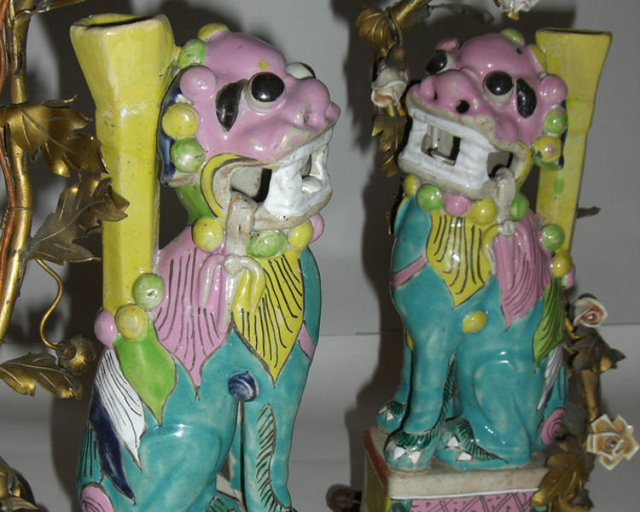 Pair of Chinese Export Porcelain Foo Dog Lamps