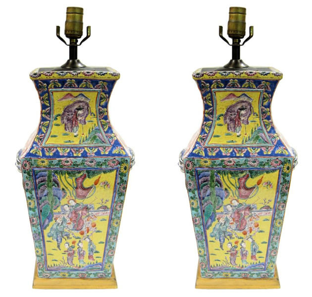 Pair of Chinese Famille Jaune Porcelain Table Lamps
