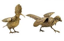 Pair of Antique German Gilded Silver Birds