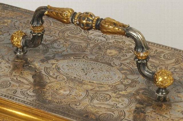 Gold & Silver Inlaid Steel & Bronze Jewellry Casket
