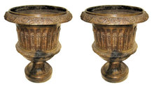 Pair of Massive Antique Campana Form Garden Urns