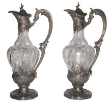 Pair of French Silver & Crystal Claret Jugs by V. Boivin