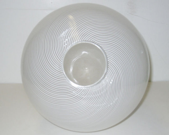 1983 White & Clear Filigrana Glass Egg Sculpture by Venini