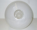 1983 White & Clear Filigrana Glass Egg Sculpture by Venini