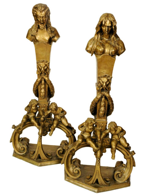 Pair of Large Italian Baroque Neoclassical Figural Andirons Firedogs Chenets