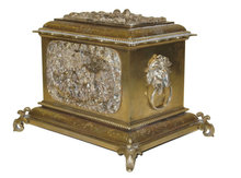 Antique French Silvered Bronze Tea Caddy