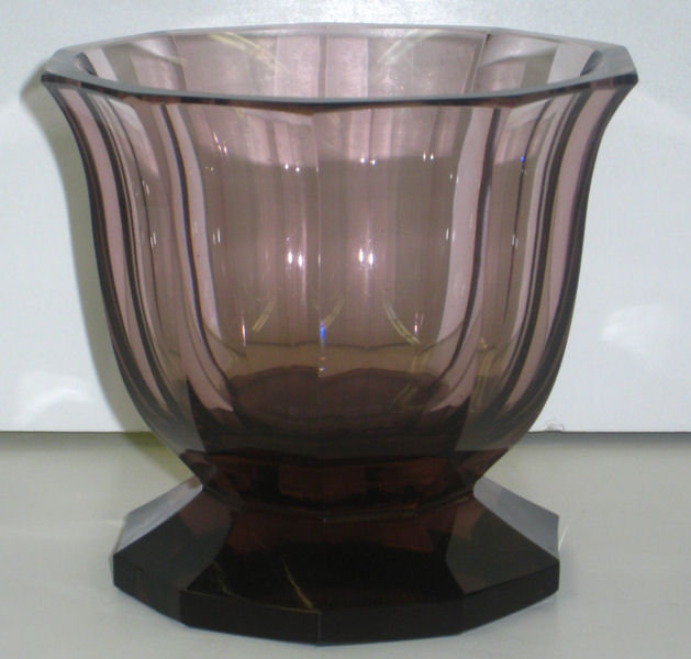 Josef Hoffmann Moser Signed Violet Footed Glass Vase