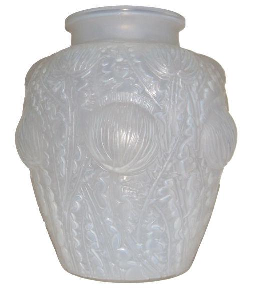 Lalique Opalescent Domremy Thistle Motif Glass Vase