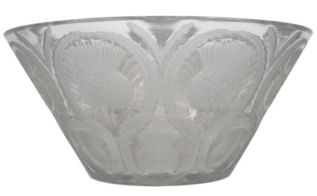 Lalique Glass Bowl with Thistle Motif