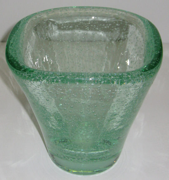 Daum Nancy Green Pulegoso Glass Vase