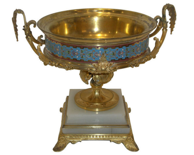 Antique French Champleve Bronze Centerpiece