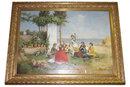 Seaside Genre Oil on Canvas After Antonio Paoletti De Giovanni