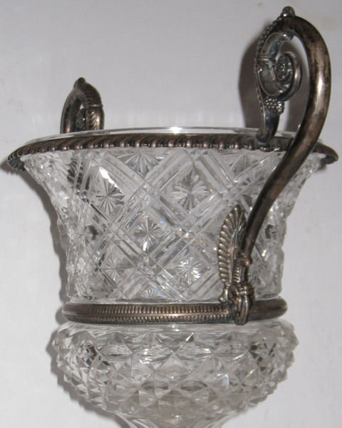 Antique Continental Cut Crystal Glass and Silver Handled Vase