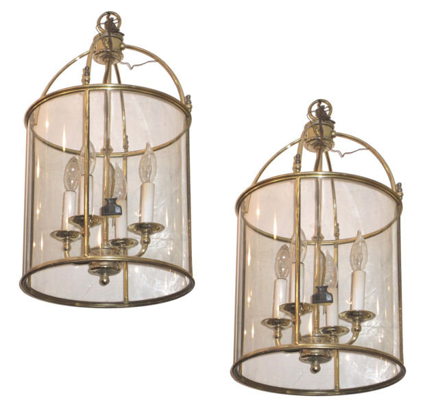 Pair of Georgian Style Brass and Glass Lanterns