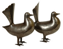 Pair of Islamic Qajar Dynasty Persian Gold and Silver Inlaid Steel Dove Figurines