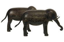 Pair of Persian Qajar Dynasty Patinated Steel Elephant Figurines