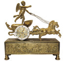 Anitque French Directoire Empire Period Chariot Form Bronze Mantel Clock