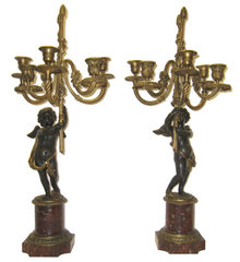 Pair of French Figural Cherub Bronze Candelabra
