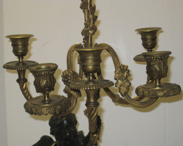 Pair of French Figural Cherub Bronze Candelabra