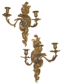 Pair of Organic Form Ormolu Bronze Louis XV Style Sconces