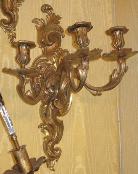 Pair of Organic Form Ormolu Bronze Louis XV Style Sconces