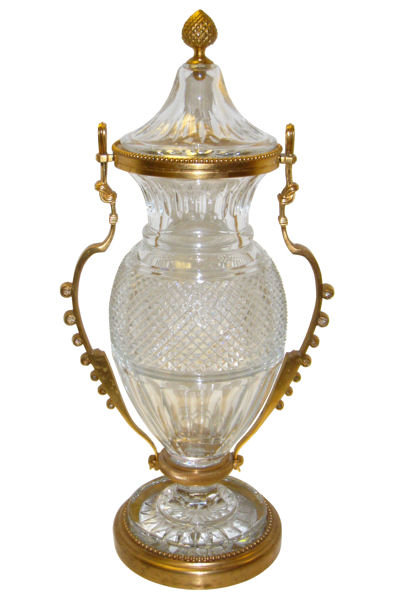 Bronze Mounted Crystal Glass Vase Centerpiece by Baccarat