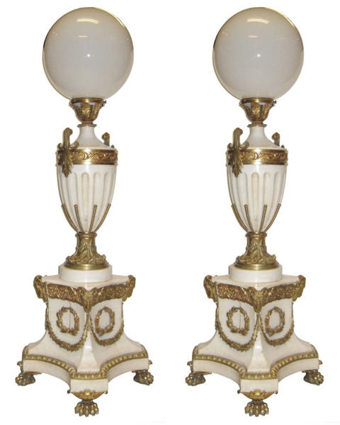 Pair French Empire Style Marble and Bronze Torchere Floor Lamps
