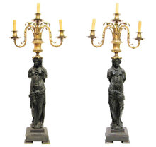 Pair Patinated & Gilt Bronze Neoclassical Figural Candelabra Lamps