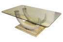 Faux Elephant Ivory Tusk, Marble and Glass Coffee Table by Maison Jansen
