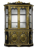 Napoleon III Bronze Mounted Ebonized Cabinet Bookcase with Brass Marquetry
