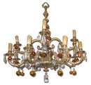 Large Classical 12-Candle Bronze Chandelier with Fruit-Shaped Colored Glass Pendants