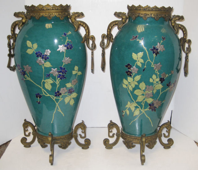 Pair of French Exotic Japanese Style Bronze Mounted Porcelain Vases by St. Denis