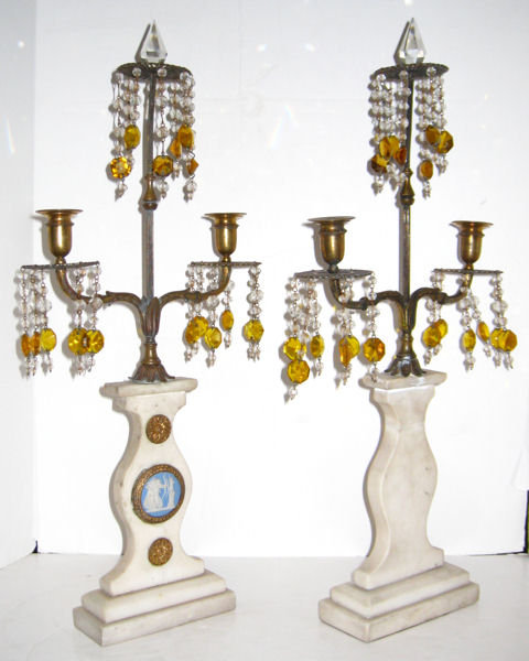 Pair of Marble and Bronze Candelabra with Neoclassical Jasperware Medallions