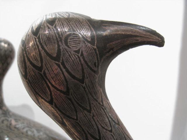 Pair of Antique Islamic Persian Qajar Period Patinated Steel Bird Figurines