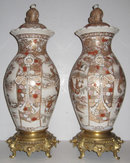 Pair of Japanese Bronze Mounted Earthenware Satsuma Vases