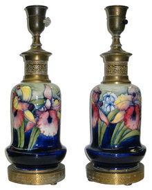 Pair of British Arts & Crafts Ceramic Table Lamps by Moorcroft