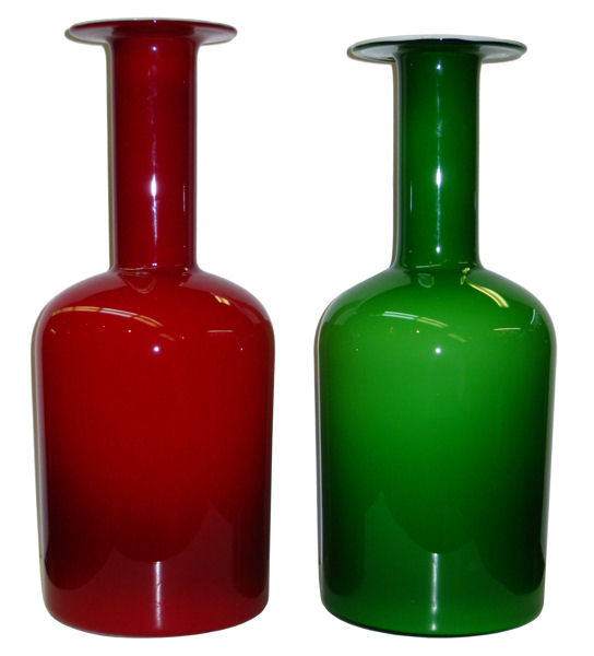 Red and Green Gulwase Glass Vases by Otto Brauer for Kastrup Holmegaard